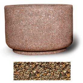 "Concrete Outdoor Planter 36""Dia x 24""H Round Tan River Rock"
