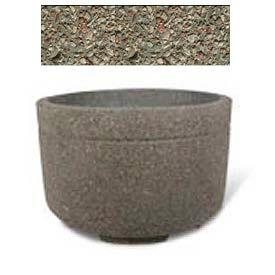 "Concrete Outdoor Planter w/Forklift Knockouts, 48""Dia x30""H Round Gray Limestone"