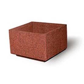 "Concrete Outdoor Planter, 36"" Sq. x 24"" H Square Red Quartzite"