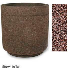 """Concrete Outdoor Planter 36""""Dia x 36""""H Round Red Quartzite"""