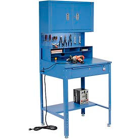 """Shop Desk with Pigeonhole Riser, Pegboard Panel & Cabinet 34-1/2""""W x 30""""D x 38""""H Sloped Surface Blue"""