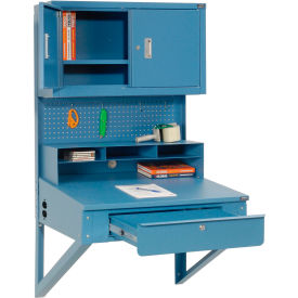 """Shop Desk Wall Mount w Pigeonhole Compartments and Cabinet Riser 34-1/2""""W x 30""""D"""