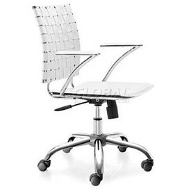 """Zuo Modern Criss Cross Office Chair, 30-35""""H, Chromed Steel Frame, White"""