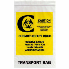 "Reclosable Chemotherapy Drug Transport Bags, 4 mil, 12"" x 15"", Clear, Case of 500"
