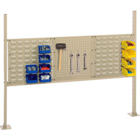 """Risers With 60"""" Workbench Louver/Pegboard Panel Tan"""