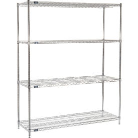 "74"" H Nexel Chrome Wire Shelving - 72"" W x 21"" D"