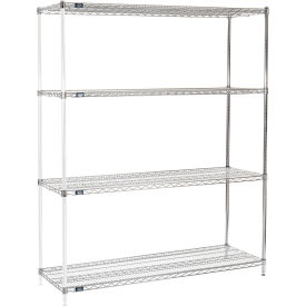 "86"" H Nexel Chrome Wire Shelving Add-On - 72"" W x 21"" D"