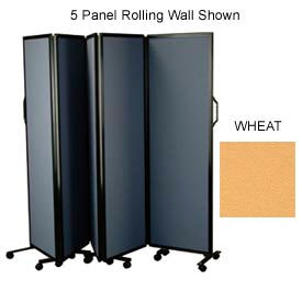 "3 Panel Rolling Wall With Black Aluminum Frame, Wheat 72""H x 72""W"