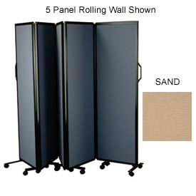 "3 Panel Rolling Wall With Silver Aluminum Frame, Sand 72""H x 72""W"