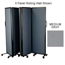 "9 Panel Rolling Wall With Silver Aluminum Frame, Medium Gray 72""H x 216""W"