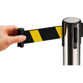 "Crowd Control Stanchion, 39""H Stainless Steel Post, 6-1/2' Yellow/Black Retractable Belt"