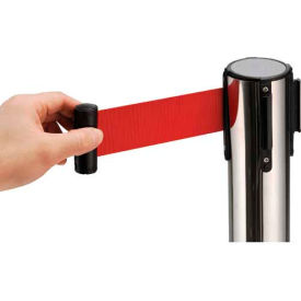 """Crowd Control Stanchion, 39""""H Stainless Steel Post, 6-1/2' Red Retractable Belt"""