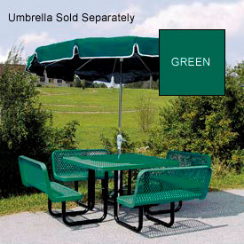 """46"""" Square Table with Bench Seats, Surface Mount, Expanded Metal - Green"""