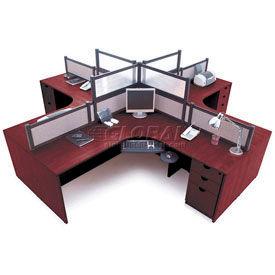 Storlie 4 Person L Desk Workstation With Desk Mounted Panels