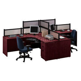 2 person l desk workstation with desk mounted panels - L shaped desk for two people ...
