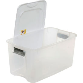 Clear Storage Tote With Lid 70 Quart 26-1/4x16-1/4x14-3/8