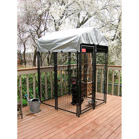 Lucky Dog Uptown Dog Welded Wire Kennel With Cover 4' x 4' x 6' Black