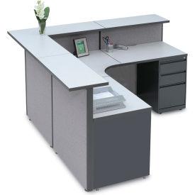 "Large L-Shaped Reception Station, 79""W x 79""D x 43""H"