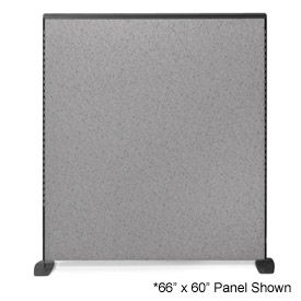 """66"""" H X 66"""" W Pewter Haze Freestanding Office Partition  Panel with Charcoal Frame"""