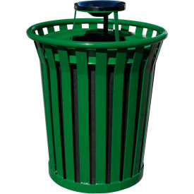 Wydman 36 Gallon Metal Receptacle with Ash Top - Green