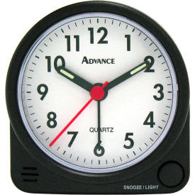 Geneva Advance Quartz Analog Round Bedside Alarm Clock - Black - Pkg Qty 6