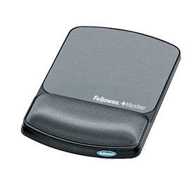 Fellowes® 9175101 Mouse Pad/Wrist Support with Microban® Protection, Graphite - Pkg Qty 4