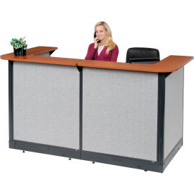 """U-Shaped Reception Station With Raceway, 88""""W x 44""""D x 46""""H, Cherry Counter, Gray Panel"""
