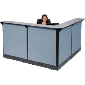 "L-Shaped Electric Reception Station, 80""W x 80""D x 46""H, Gray Counter, Blue Panel"