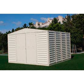 "Outdoor WoodBridge PVC Storage Shed with Foundation 10'5"" x 10'5"" x 7'1"""