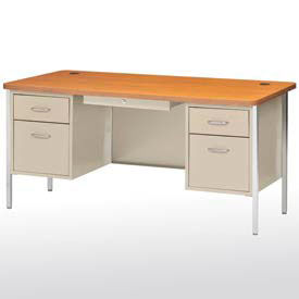 "60"" x 30"" Double Pedestal Teacher Steel Desk Putty/Medium Oak Top"