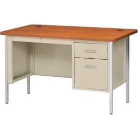 "48"" x 30"" Single Pedestal Teacher Steel Desk Putty/Medium Oak Top"
