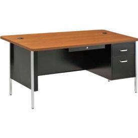 "Sandusky Single Pedestal Teacher Steel Desk - 60"" x 30"" - Black/Medium Oak Top"