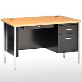 "Sandusky Single Pedestal Teacher Steel Desk - 60"" x 30"" - Black/Maple Top"
