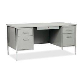"""60"""" x 30"""" Double Pedestal Steel Desk with Center Drawer Gray/Gray Top"""