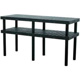 """Plastic Work Bench with Grid Top - 66""""W x 24""""D x 36""""H"""