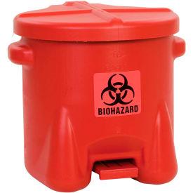 Eagle 10 Gallon Safety Poly Biohazardous Waste Can, Red - 945BIO