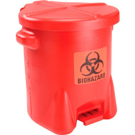 Eagle 14 Gallon Safety Poly Biohazardous Waste Can, Red - 947BIO