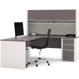 "Bestar® L Desk with Hutch & Pedestal - 71""- Slate & Sandstone - Connexion Series"