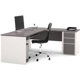 "Bestar® L Desk with Pedestal - 71"" - Slate & Sandstone - Connexion Series"