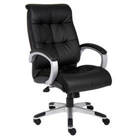 Double Plush High Back Executive Chair, Black