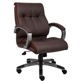 Double Plush Mid Back Executive Chair, Brown