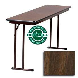 "Correll Folding Seminar Table - Laminate - 18""x 60"" - Walnut"
