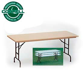 "Blow-Molded Commercial Duty Adjustable Ht. Folding Table 30"" x 60"" Mocha Granite"