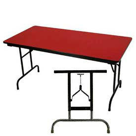 "3/4"" High Pressure Laminated Adj. Height Folding Table, 30 x 60"", Red"