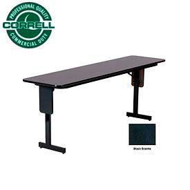 "Correll Folding Seminar Table - 18"" x 60"" - Black Granite"