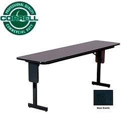 """Training - Panel Leg, Folding Table. 18"""" x 96"""", Black Granite Top"""