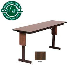 "Training - Panel Leg, Folding Table. 18"" x 96"", Walnut Top"