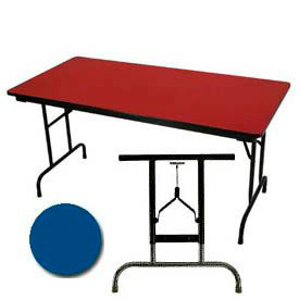 "3/4"" High Pressure Laminated Adj. Height Folding Table, 36 x 72"", Blue"