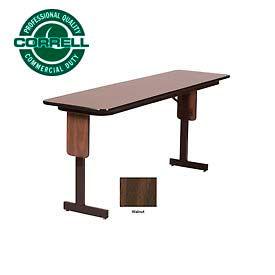"Correll Folding Seminar Table - 18"" x 60"" - Walnut"
