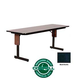 "Correll Folding Seminar Table - 24"" x 72"" - Black Granite"